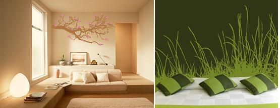 Walltat blossoms branch tall grass wall decal