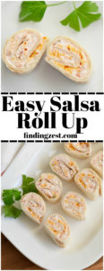 Only four ingredients are required to make this easy salsa roll up recipe! A perfect snack or appetizer for any party, holiday or game day celebration!