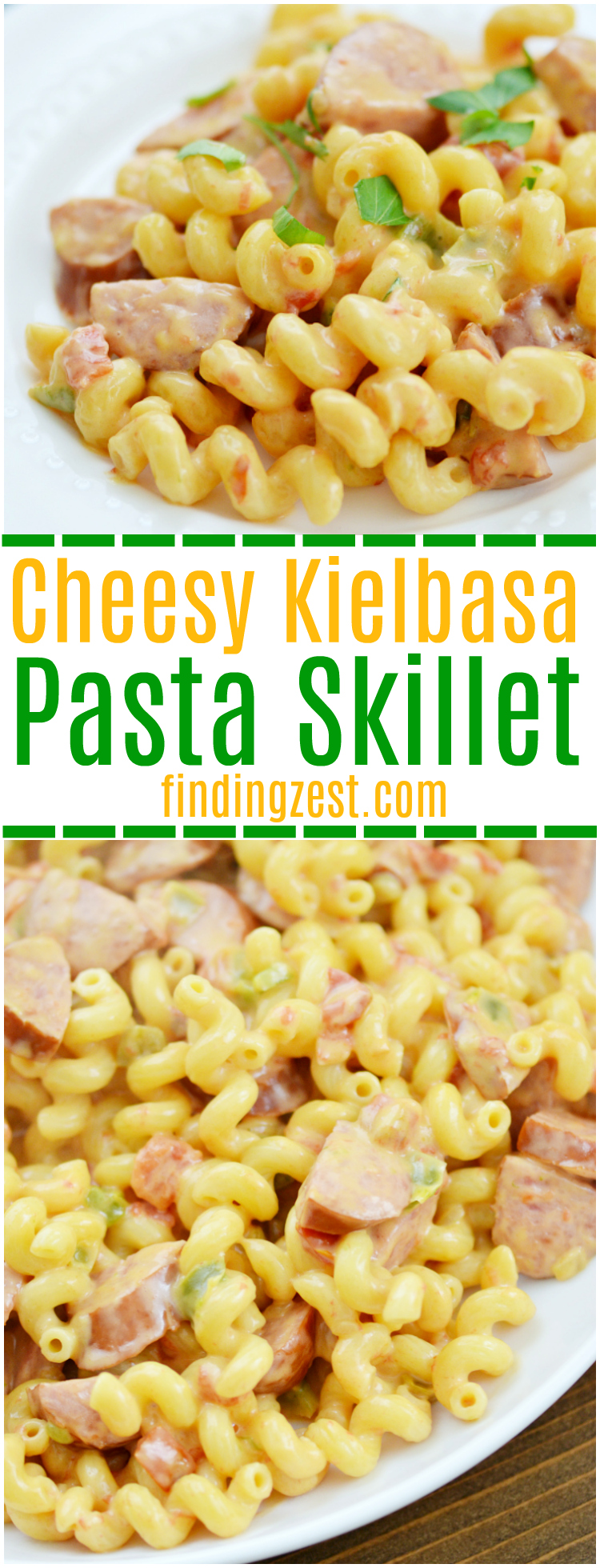 Try out this Cheesy Kielbasa Pasta recipe for an easy weeknight dinner solution! Loaded with flavor, this kielbasa recipe combines Velveeta, Rotel and pasta into a delicious dinner with a spicy kick. Your whole family will love this kielbasa sausage meal.