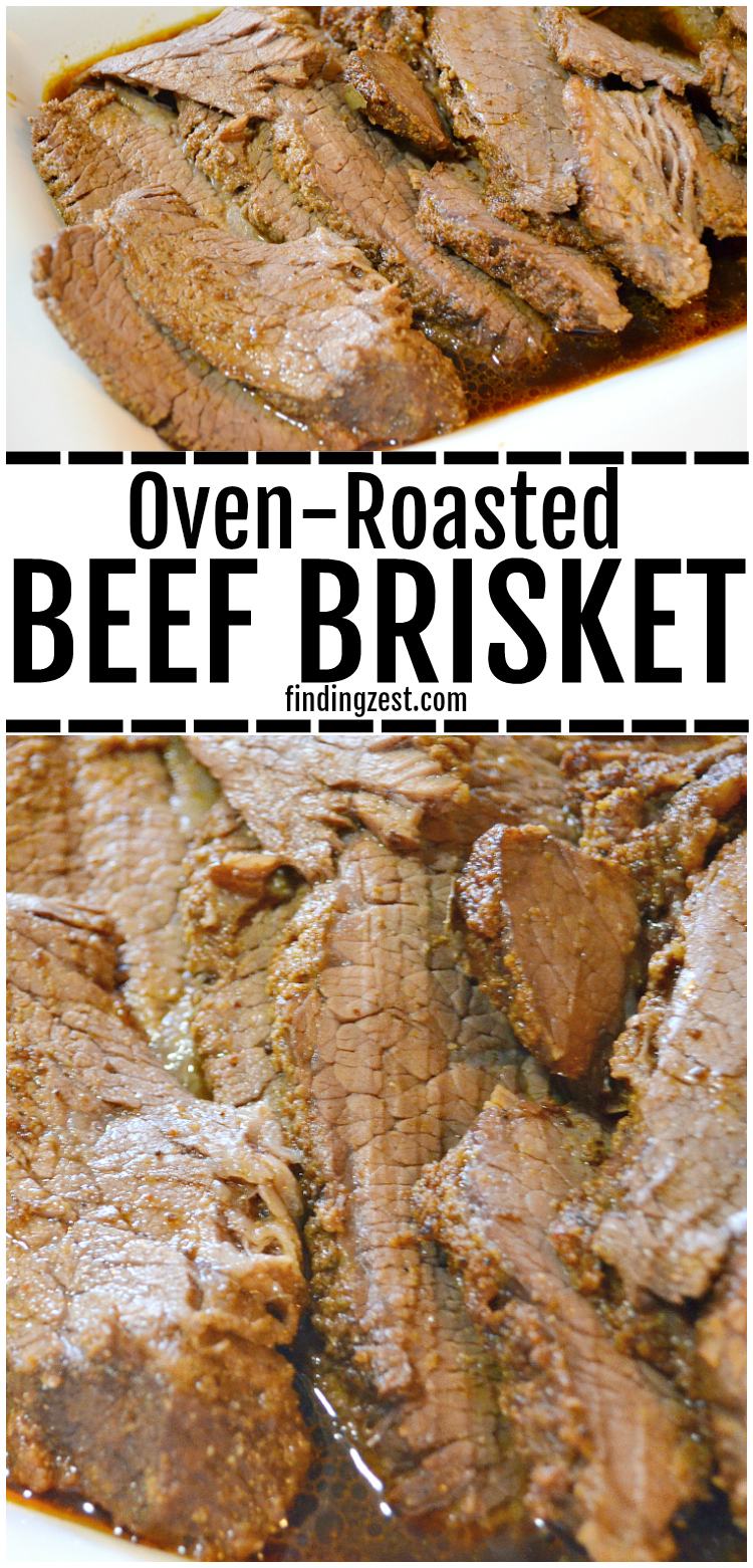 This brisket in the oven recipe is the best! You will love how flavorful and juicy this beef brisket turns out, even though it is roasted in the oven. Cook it at at low temperature in the oven to create an amazing dinner that everyone will love!