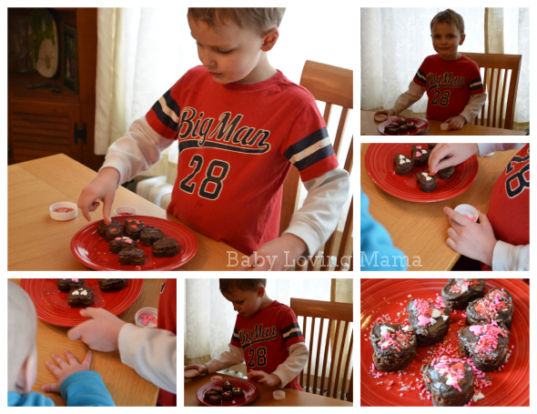 Valentines Day Heart Brownie Decorating