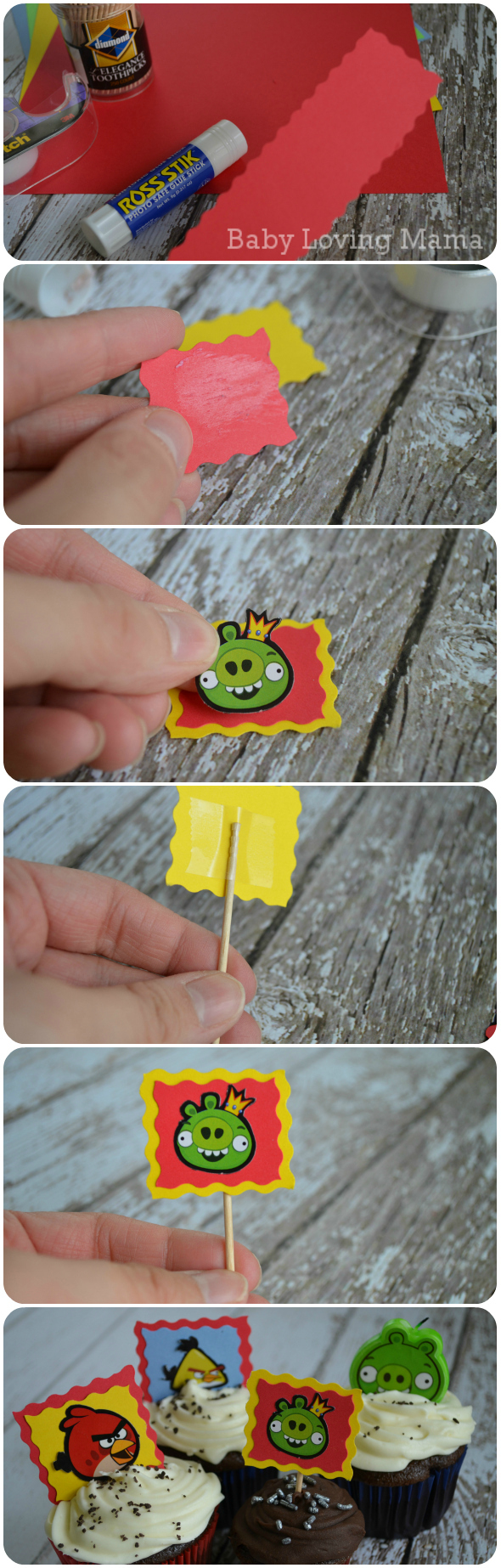 Cupcake Angry Birds Picks Craft Tutorial
