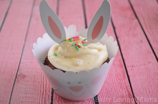 Chasing Fireflies Easter Cupcake Wraps Toppers Bunny Ears