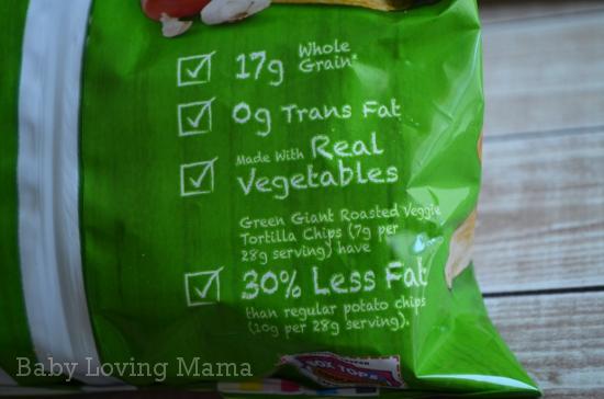 Green Giant Veggie Snack Chips Bag Back