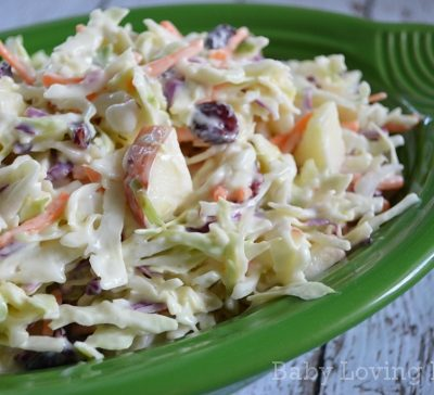 Creamy Apple Cranberry Coleslaw Recipe   Gearing Up for Summer #KraftRecipes