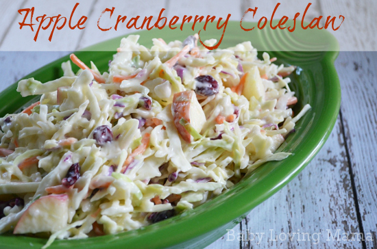 Creamy Apple Cranberry Coleslaw with Miracle Whip