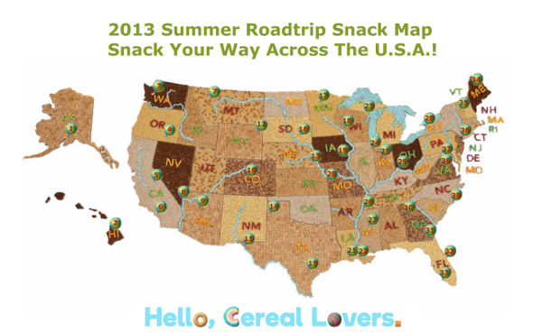 General Mills Summer Roadtrip Snack Map Cereal
