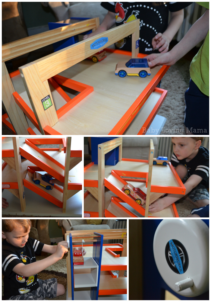 Motorworks Customizeable Wooden Toy vehicles and Garage 2