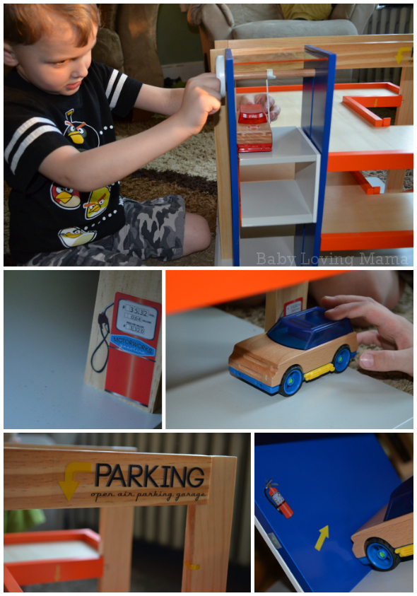 Motorworks Customizeable Wooden Toy vehicles and Garage Details