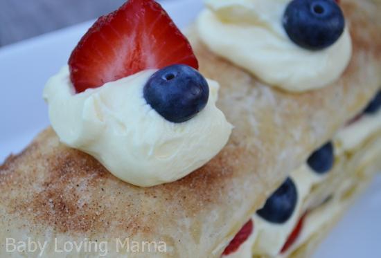Patriotic Layered Berry Dessert Closeup
