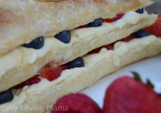 Patriotic Layered Berry Dessert Layer Closeup