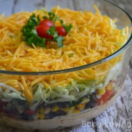 Fiesta Layer Dip with Corn Black Bean Salsa + Fish Tacos