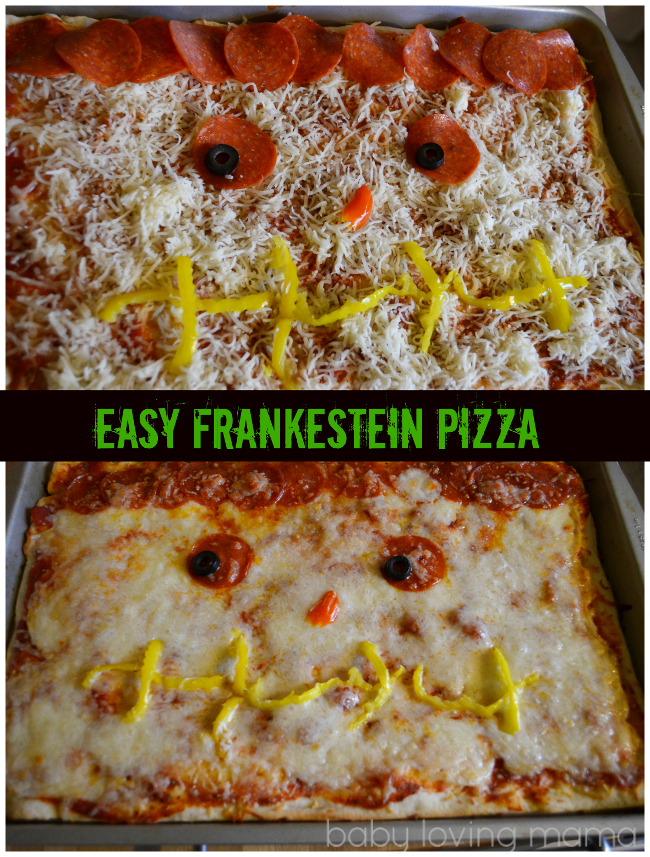 Frankenstein Pizza for Halloween with Classico Pizza Sauce