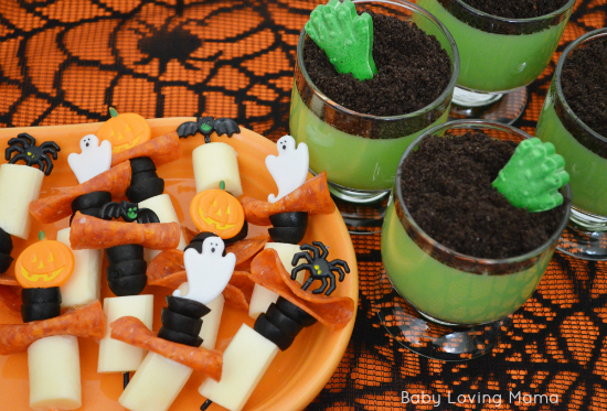 Halloween Zombie Hand Pudding Spooky Skewers with Kraft