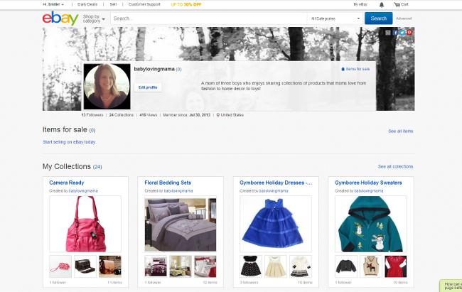 eBay Collections BabyLovingMama Profile