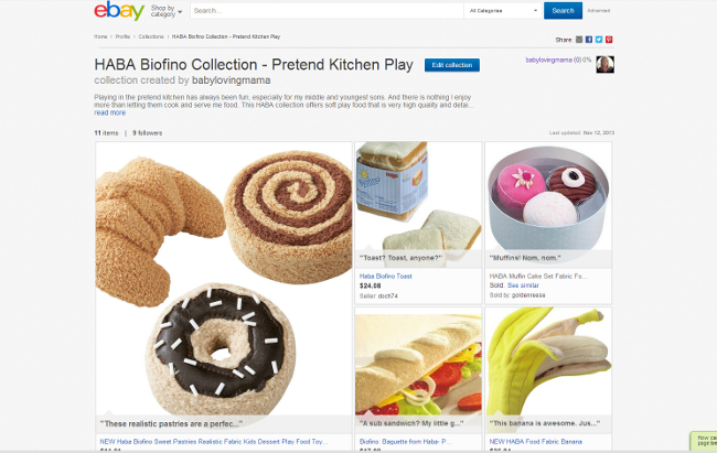 eBay Collections HABA Play Food Collection