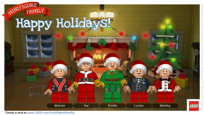 Lego Happy Holidays Minfigure Family Postcard