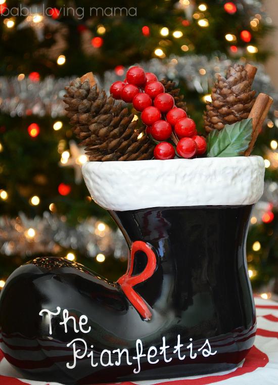 Personal Creations Holiday Decor Ceramic Santa Boot