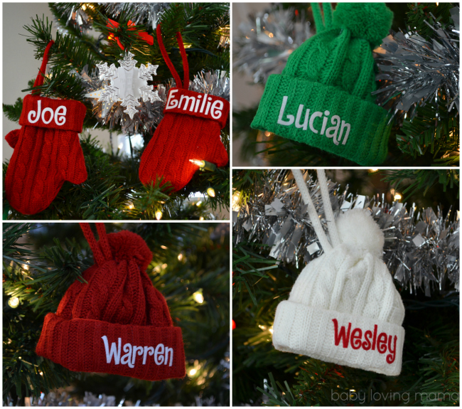 Personal Creations Holiday Ornaments Knit Personalized Hat Mittens Red Green White