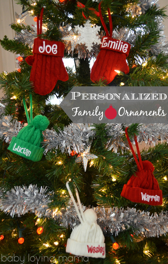 Personal Creations Holiday Ornaments Knit Personalized Hat Mittens