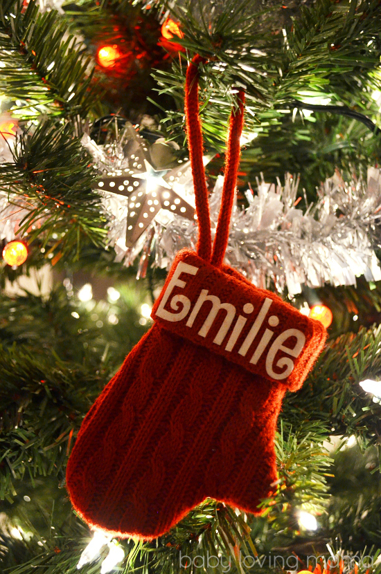 Personal Creations Holiday Ornaments Knit Personalized Red Mittens