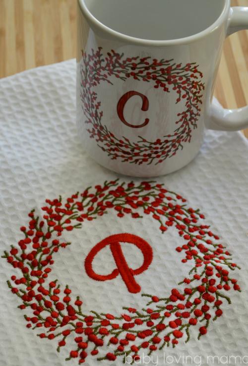 Personal Creations Holly Berry Wreath Towel Mug