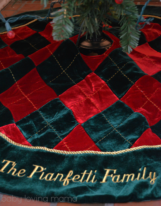 Personal Creations Personalized Tree Skirt Argyle Family Red Green Gold