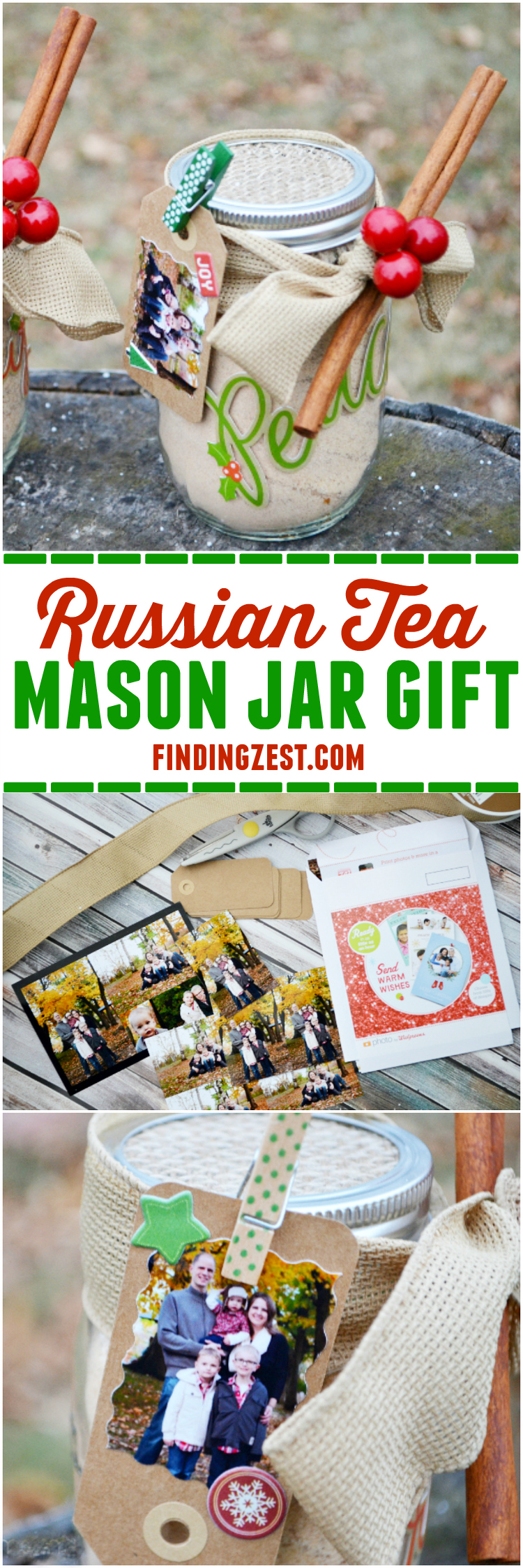 This DIY Russian Tea Mason Jar Gift with Photo Tag is a perfect homemade holiday gift for Christmas!