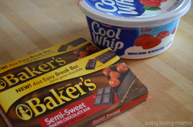 Warm Chocolate Dip from Kraft Cool Whip Bakers Chocolate