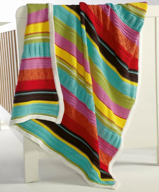 mamas and papas knitted blanket gingerbread multicolor