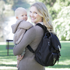OiOi Black Patent Diaper Bag Backpack
