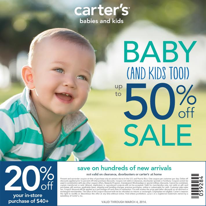 Carters Baby and Kids Sale 50 percent off 20 percent off coupon