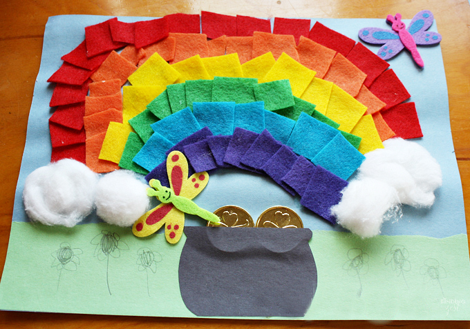 Celebrate St. Patrick's Day by trying this Felt Rainbow with a Pot of Gold craft tutorial! Step by step instructions to create a fun craft for kids.