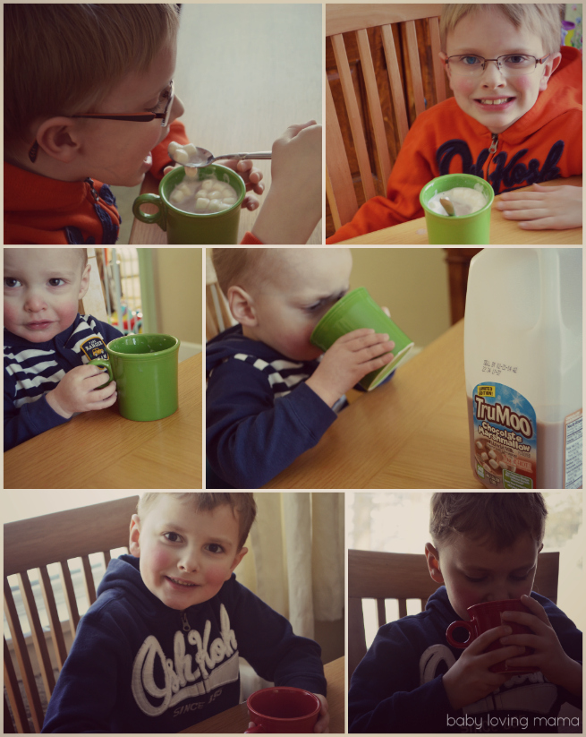 TruMoo Chocolate Marshmallow Collage with kids