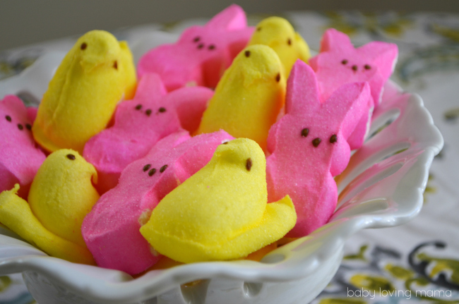 Wilton Peeps Chicks and Bunnies in Dish Yellow and Pink