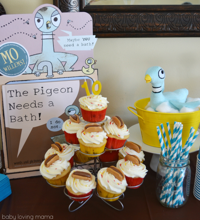 Pigeon Party Mo Willems Hot Dog Cupcakes with Candles