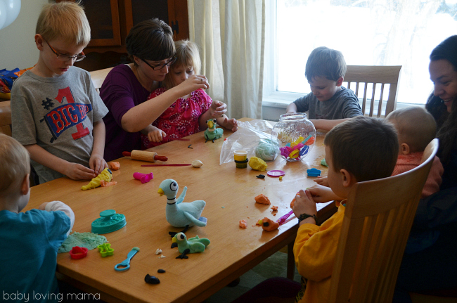 Pigeon Party Mo Willems Playdough Activity with Guests