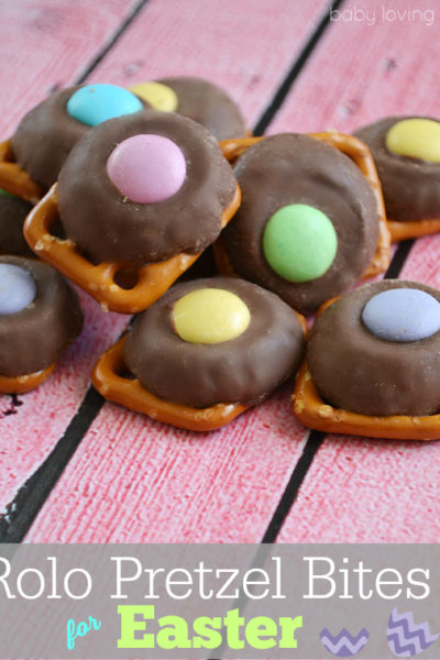 Rolo Pretzel Bites with M&M Candies for Easter