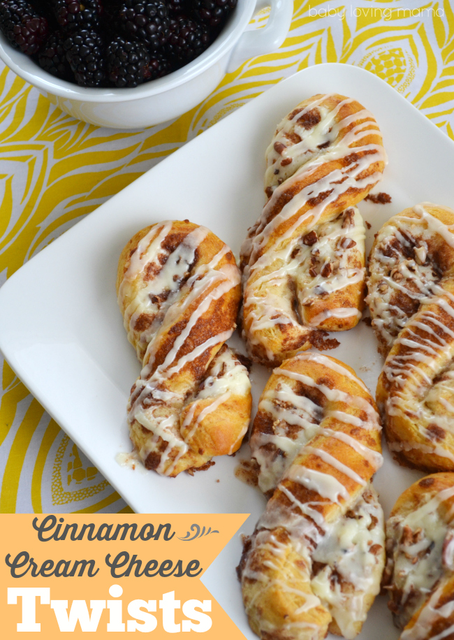 Cinnamon Roll Twists with Cream Cheese Filling