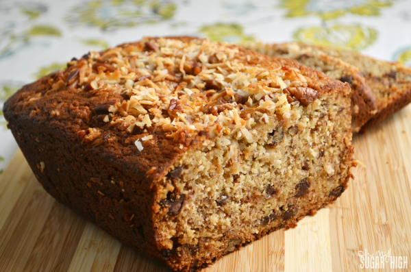 Coconut Chocolate Chip Banana Bread with topping Recipe