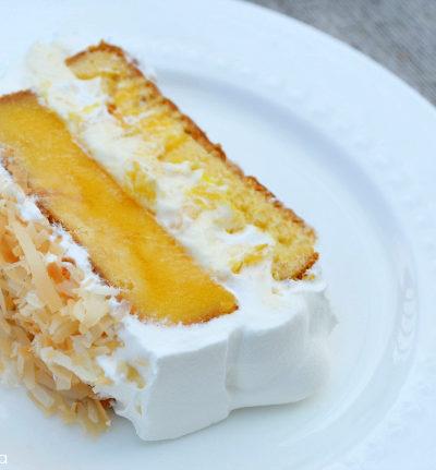 Mango Coconut Poke Cake with Sara Lee #SLSweetTreats