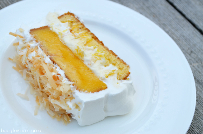 Mango Coconut Poke Cake Sliced