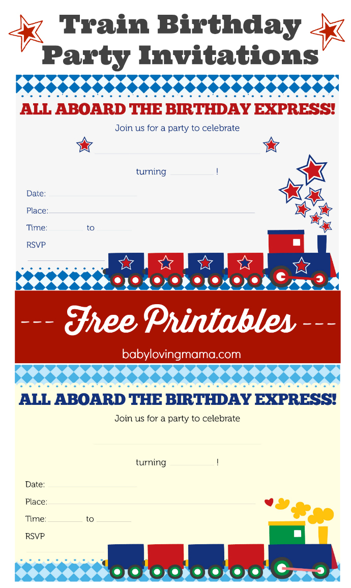 Train Birthday Party Invitations: Free Printables - Finding Zest