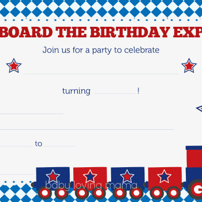 Train Birthday Party Invitations: Free Printables