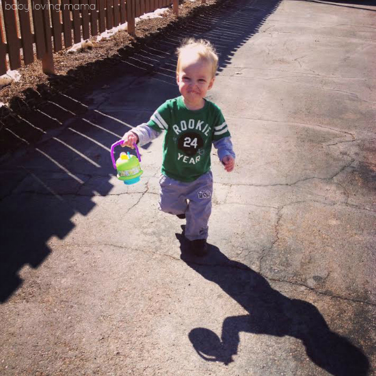 Wesley outside with bubbles