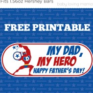 Father's Day Free Printable Candy Wrapper: My Dad, My Hero