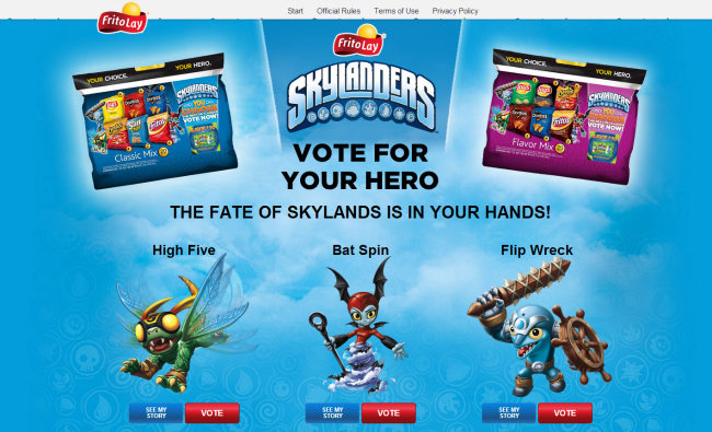Frito Lay Skylanders Vote for Your Hero