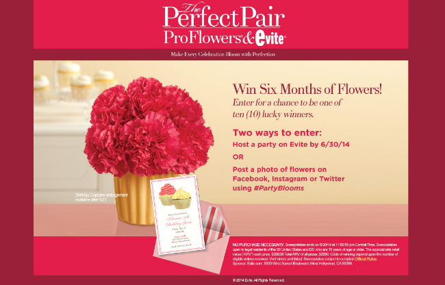 Proflowers Evite Perfect Pair Sweepstakes