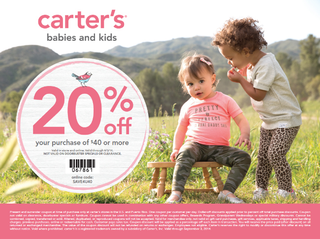 Carter's coupon July August 2014