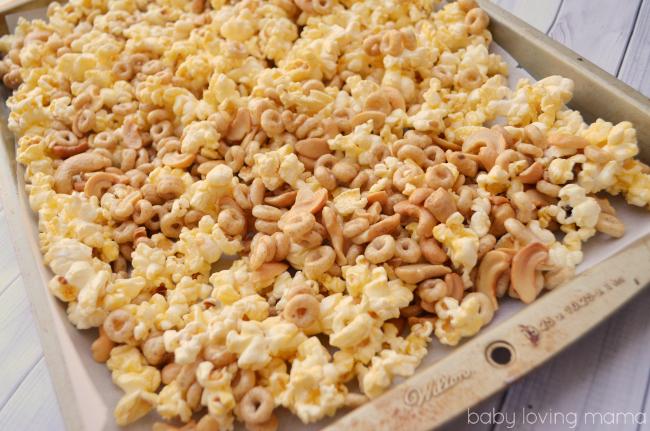 Honey Nut Popcorn Mix Baked